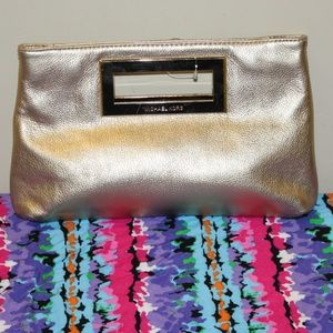 Michael Kors Gold metallic Large clutch leather